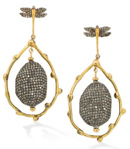 Robinson Pelham Yellow gold Dragonfly and Twig earrings with grey and brown diamonds in yellow gold