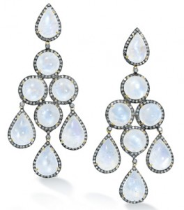 Robinson Pelham Moonstone earrings with brown diamond surrounds with black rhodium
