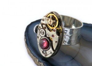 Garnet & Sapphire Crown Ring Steampunk Inspired by GarnetandSteel