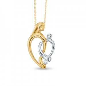 Diamond Accent Family Pendant in 10K Two-Tone Gold at Zales